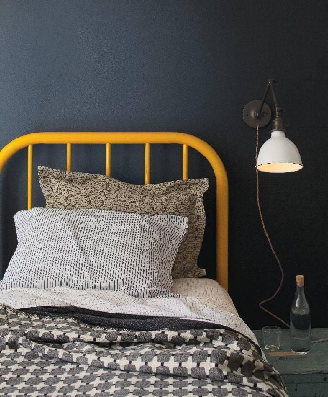 : Colour, Bed Headboards, Bed Frame, Bedrooms, Gray Yellow, Bedroom Ideas