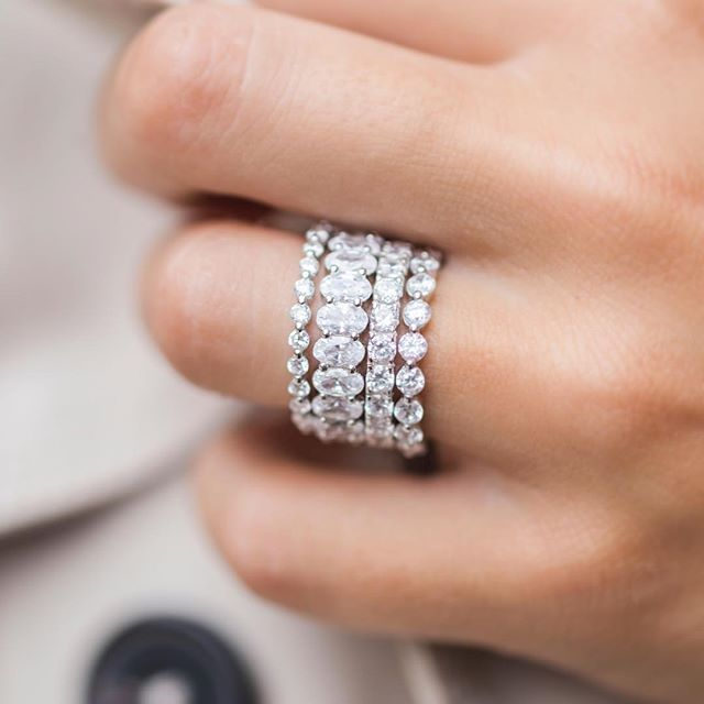 This 6 Carat Oval Eternity Ring Is Everything It Makes This Stack Pop Diamond Wedding Bands Stackable Stackable Wedding Bands Eternity Bands