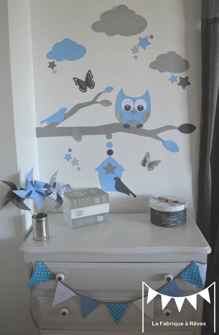 stickers bleu ciel gris argent d coration chambre enfant gar on b b branche cage oiseau hibou. Black Bedroom Furniture Sets. Home Design Ideas