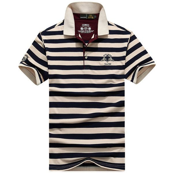s AFSJEEP Summer Polo Shirt Stripe Printing Short Sleeve Cotton Casual... (£17) ❤ liked on Polyvore featuring men's fashion, men's clothing, men's shirts, men's polos, mens long sleeve collared shirts, mens polo shirts, mens long sleeve shirts, mens short sleeve polo shirts and men's cotton polo shirts