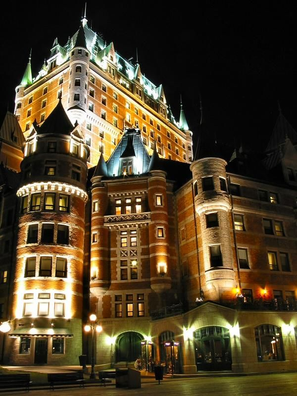 """Château Frontenac - Quebec City, Quebec, Canada The Château Frontenac was designed by American architect Bruce Price, as one of a series of """"château"""" style hotels built for the Canadian Pacific Railway company (aka CPR) during the late 19th and early 20th centuries. CPR's policy was to promote luxury tourism by appealing to wealthy travelers. The Château Frontenac opened in 1893, six years after the Banff Springs Hotel, which was owned by the same company and similar in style."""