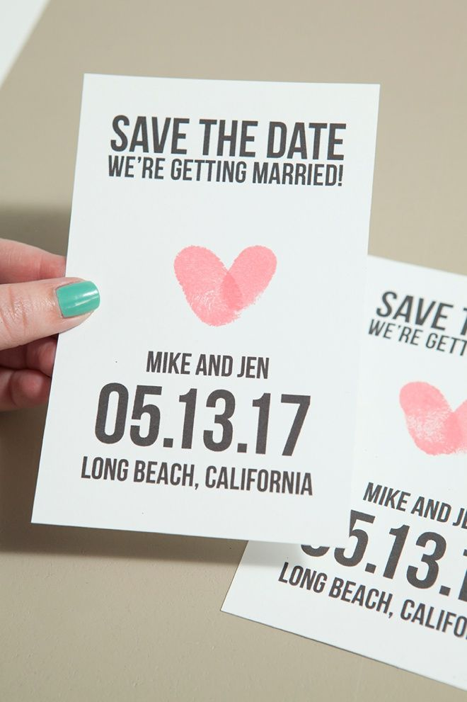 Make Your Own Thumbprint Heart Save The Dates Diy Wedding Tutorials Pinterest Date And