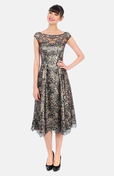 Kay Unger Metallic Jacquard & Lace Midi Dress available at #Nordstrom