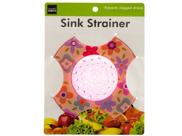 """Decorative Sink Strainer, 144 - Prevent clogged drains and dress up your sink with these stylish Decorative Sink Strainers featuring durable plastic strainers in cheerful designs. Comes in assorted styles that may include pink floral, yellow floral, fruit pattern, blue checkered and more. Measures approximately 5.25"""" in diameter with a 2.625"""" diameter strainer. Fits most sinks. Comes packaged in a hanging panel.-Colors: white,yellow,green,blue,purple,orange. Material: plastic. Weight…"""