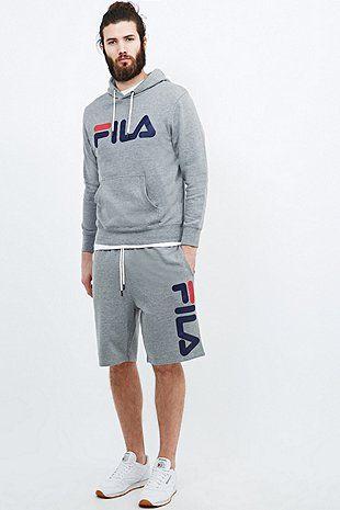 fila outfits mens. fila antonio logo hoodie in grey outfits mens