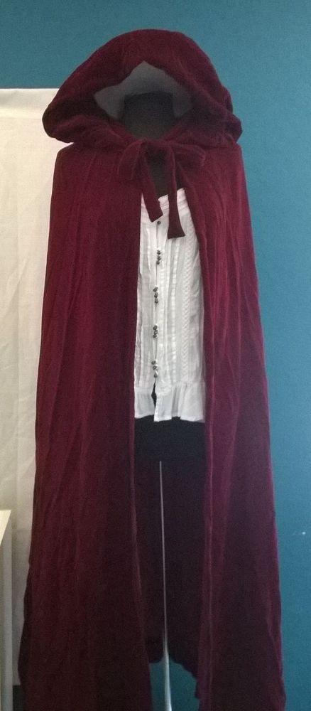 Womens VTG Red Velvet HOOD Long CAPE Regency Victorian Gothic Halloween COSTUME #Handmade #Cape #HalloweenTheatreParty