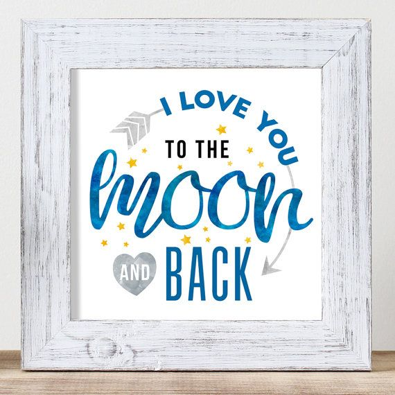 To the Moon and Back  Art For Kids  Baby Art  by nutsyandme