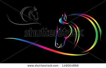 Vector head of horse on a black background - stock vector