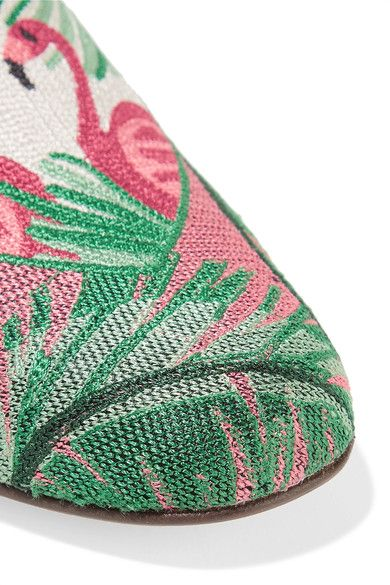 Charlotte Olympia - Flamingo Leather-trimmed Embroidered Canvas Slippers - Pink