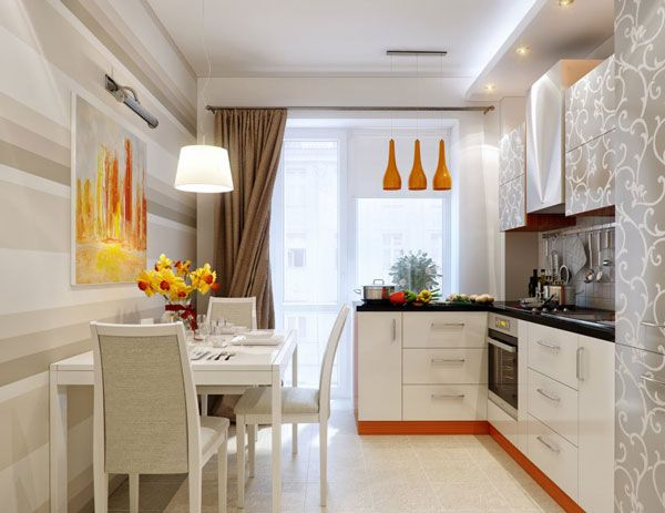 Awesome Kitchen Dining Designs Ideas With White Wall Glass Window Table Stove Oven Three Orange Hanging Lamps Art