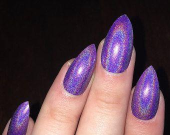 Stiletto nails fake nails matte nails blue press on nails