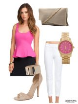 """Pretty In Pink"" This is the perfect day date outfit! The simple combination of colors matched with the slim fitting style of the clothes makes this outfit look effortlessly classy.  http://looksima.com/look/5001/"