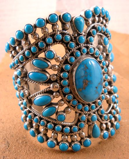 Sterling Silver open work filigree bracelet set with  Sleeping Beauty Turquoise by Alice Lister
