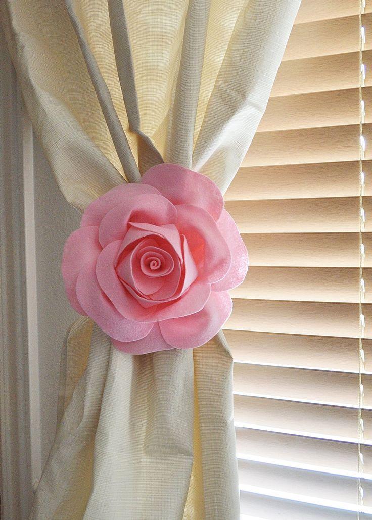 TWO Rose Flower Curtain Tie Backs Curtain Tiebacks Curtain Holdback -Drapery Tieback-Baby Nursery Decor-Light Pink Decor by bedbuggs on Etsy https://www.etsy.com/listing/160910846/two-rose-flower-curtain-tie-backs