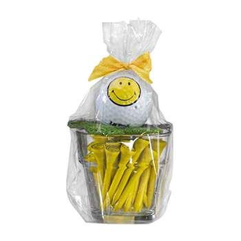 Golf Gifts Smiley Face Small Glass Pot with Ball and Tees at golfessentials.in