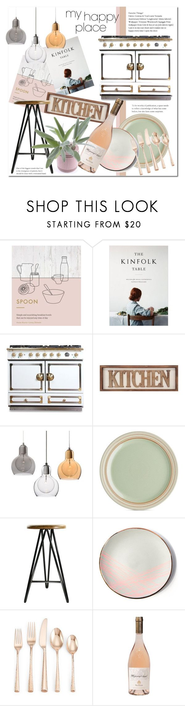 """My Happy Place: Kitchen"" by stylemaven2 ❤ liked on Polyvore featuring interior, interiors, interior design, home, home decor, interior decorating, Berylune, La Cornue, Denby and HomArt"