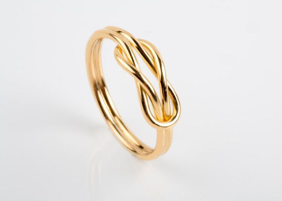 14K / 18K Solid Gold, Infinity Knot Ring, Gold Wire Ring, Solid Gold Knot Ring, Knot Engagement Ring, Nautical Engagement Ring, Alternative