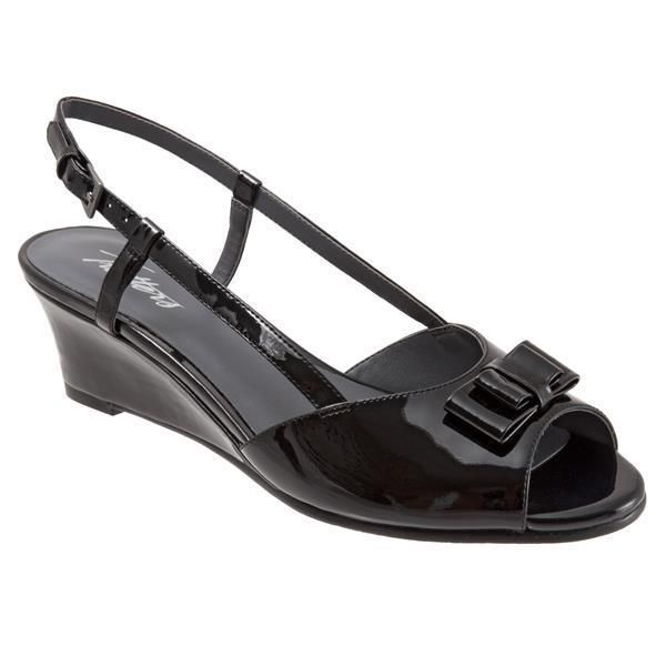 Trotters Womens Milly Black Patent Leather Slingback Wedges 6 Narrow (AA,N) #Trotters #PlatformsWedges