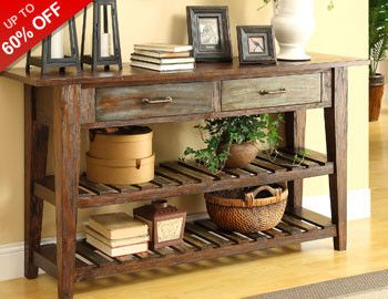 A console table is one of the most versatile pieces of furniture in a home. Update an entryway or add more storage to your living or dining room by choosing a style that's perfect for holding everything from picture frames to food at your next party. Tie the look together with decorative accents or create a conversation space with complementary upholstered accent chairs.