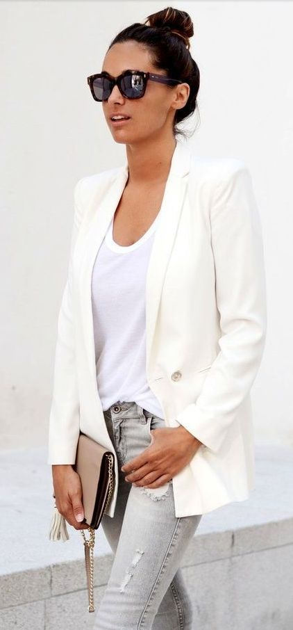 Grey jeans + white blazer + top knot.