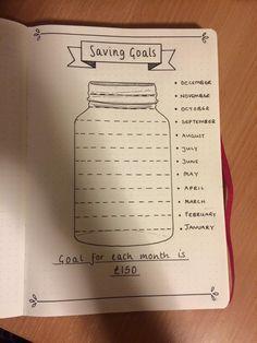 Mason Jar savings goals by S. Warrington, Bullet Journal Junkies, Facebook.