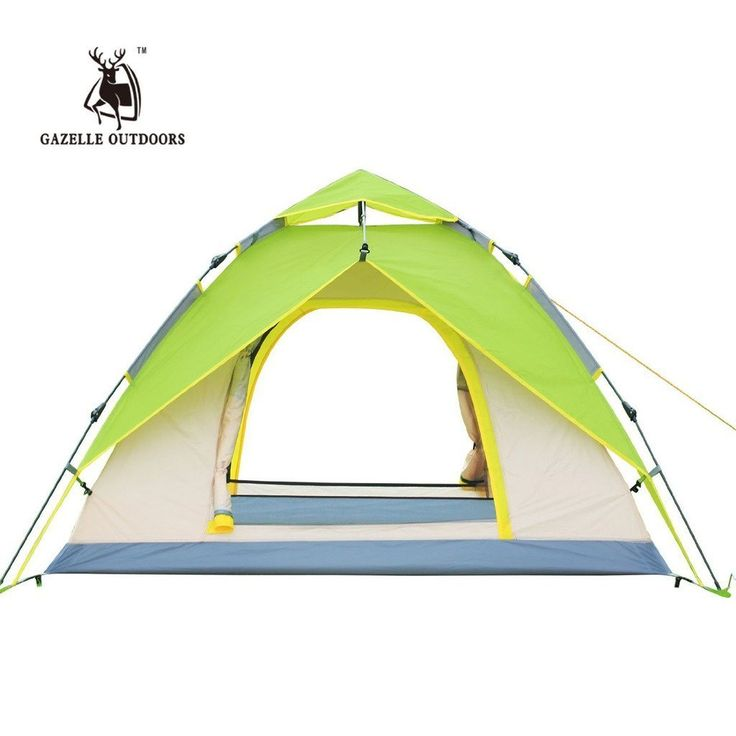Gazelle Outdoors 3-4 Person Tent Double Layer Waterproof Family Camping Hiking Instant Pop Up Tent Quick Shelter Umbrella Canopy - Green