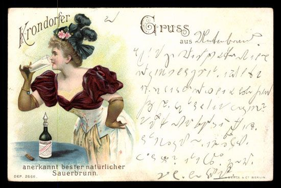 KRONDORFER naturlicher Sauerbrunn. 	Very little corner wear. Postally used 1899. Undivided back.