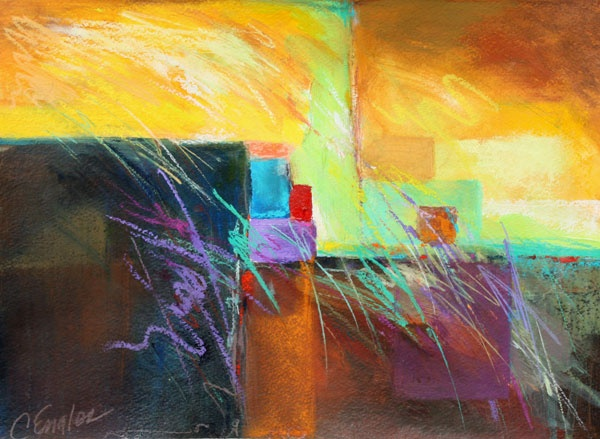 Carol Engles Art: Golden Sky, abstract painting by Carol Engles