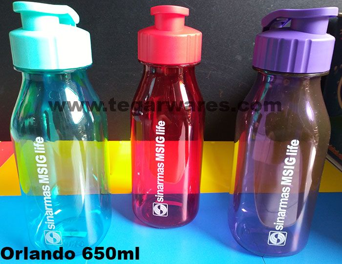 Orlando waterbottles capacity 650ml, available in four color choices: red, green, black, orange and purple.              Waterbottles is an ideal choice to be used as an insurance merchandise for new insurance company customers. Suitable also to be used as an insurance agent souvenir to be given to prospective customers that you provide during a meeting or can also be used when your insurance company held an exhibition or open booths and booths at malls, hospitals or other public locations.