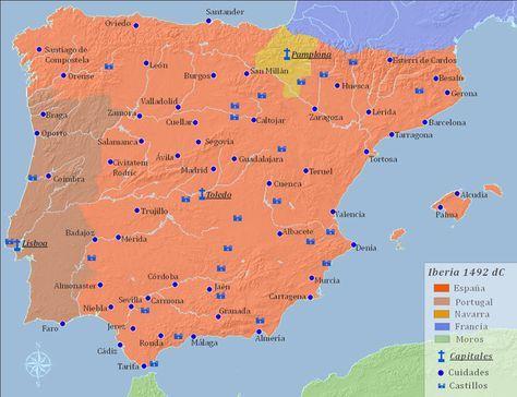 711 a 1492 dC - España Islámica y La Reconquista - Los reinos de Castilla y León se unieron en 1230 dC. El reino de Aragón fue añadido por la unión dinástica de Fernando II de Aragón e Isabel I de Castilla en 1474. Las fuerzas de Isabel y Fernando conquistaron finalmente el último reino islámico de Granada en 1492, poniendo fin a 700 años de dominio islámico en España