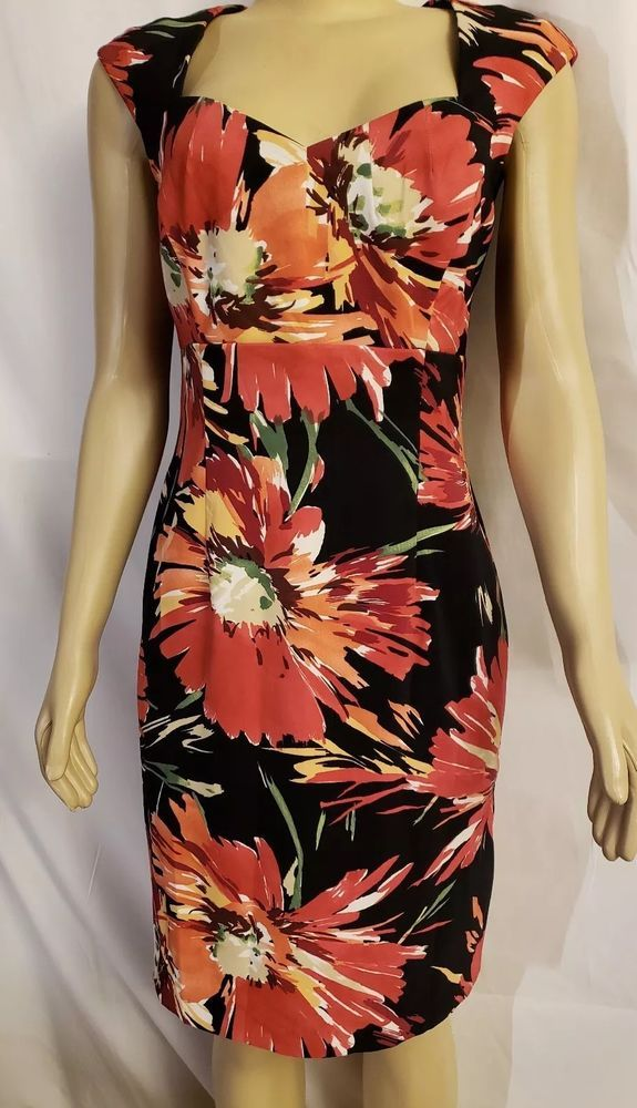 Orange Floral Summer Bodycon Bardot Evening Occasion Party Midi Wiggle Dress