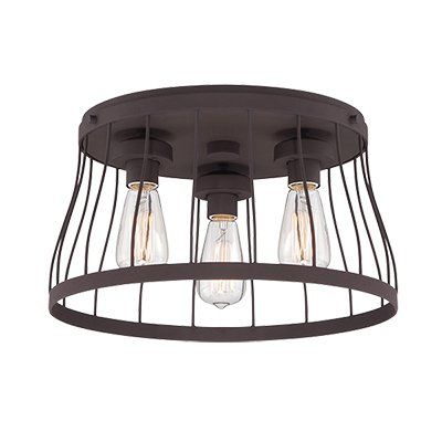 <p>The perfect finishing touch for your industrial-inspired ensemble, this stylish semi flush mount illuminates your space with a splash of factory-chic flair.</p><p>Crafted of steel, it offers up a sturdy semi flush design, with the elegance of a hanging chandelier. Its shade is round and open, then finished in Western bronze. Four exposed Edison bulbs complete its minimalist look.</p><p>This design is the perfect finishing touch for your rustic ensemb...