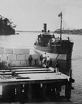 The pylons of the Sydney Harbour Bridge were face with grey granite cut at Moruya by specially imported Scots masons. Carried to Sydney by three little coasters [414t/ 147 ft] Sir Arthur Dorman [shown],Sir Dudley de Chair and Dorlonco. Sold to Adelaide Steamships to carry sugar on Queensland coast as Toorie,Terka and Tolga.