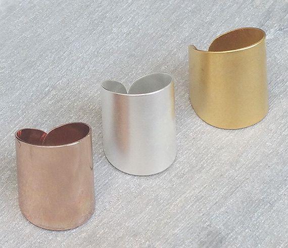 Anillo de oro banda ancha anillo anillo ajustable por HLcollection