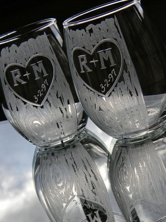 Rustic Carved Tree Trunk Stemless Wine Glasses by glassgirljen, $48.00