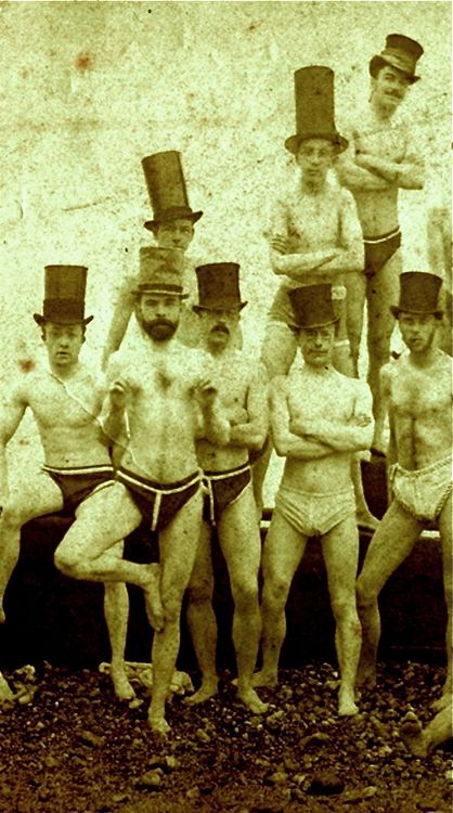 Brighton Swimming Club, 1853. Intriguing photo. The hats and poses, especially the one doing what looks like a yoga move.