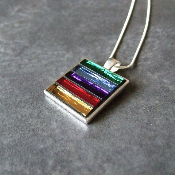 Rainbow Mosaic Pendant, Mosaic Necklace, Mirror Glass, Rainbow Colours, Various Chains To Choose From