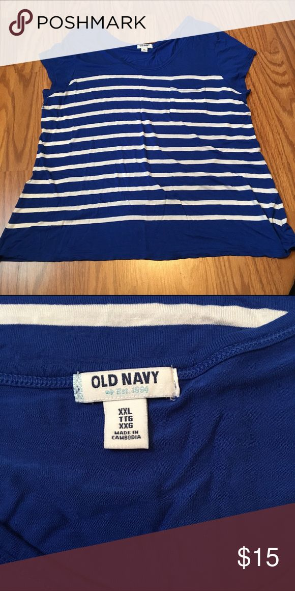 Old Navy Cap Sleeve Top Royal blue with white stripe cap sleeve top. Great condition. Perfect for wearing under a cardigan or sweater. 🚫 Smoke free home. Old Navy Tops
