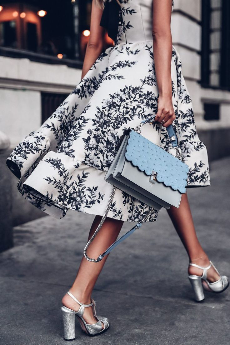 Fendi floral dress, Fendi Kan I bag in blue ostrich and Fendi silver platform sandals