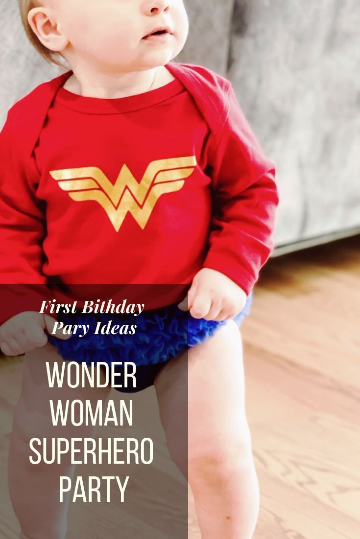 aaf1ec1ef Wonder Woman Superhero Party Decor and Outfit Ideas. Superhero birthday  party. Wonder Woman Onesie. Wonder Woman Superhero Birthday Party Theme  Ideas.