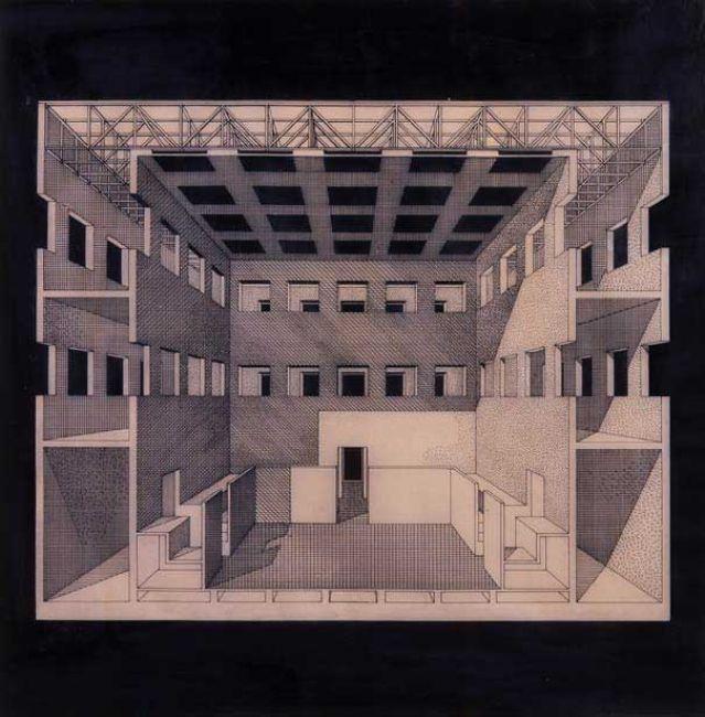 """Franco Purini, """"Teatrino scientifico"""", 1979, Inchiostro su carta da lucido, 40x40 cm #sketch"""