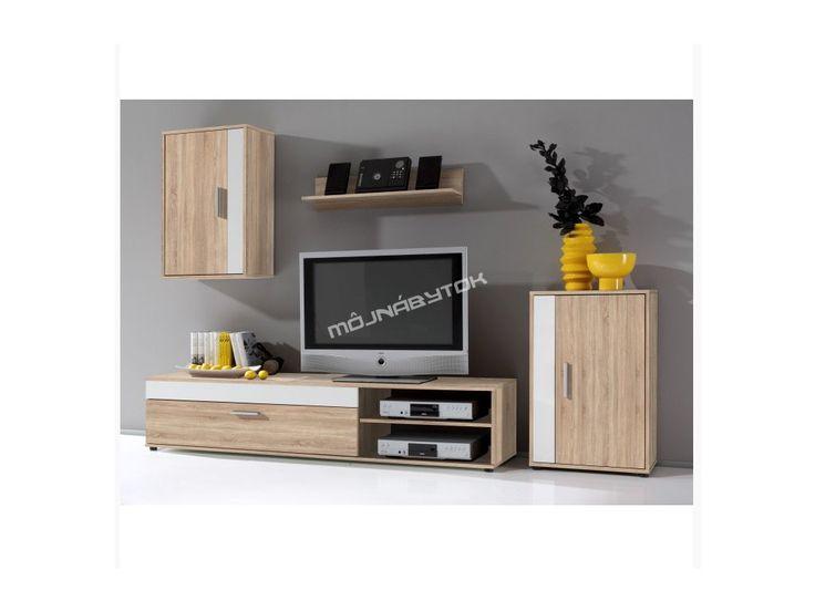 Vkusná obývacia stena v prevedení dub sonoma, vhodná do každej obývačky.