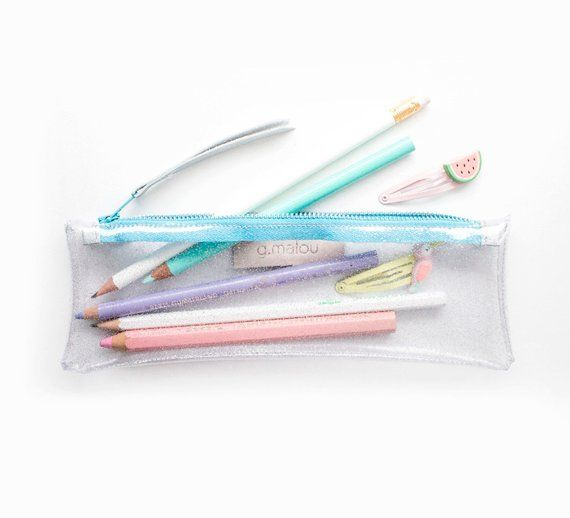 Clear Glitter Pencil Case Plastic Pen Pouch See Through Make Up Bag Vinyl Artist Case Pink Glitter Plastic Pouch School Supplies Trend Diy Pencil Case Diy Makeup Bag Pencil Case