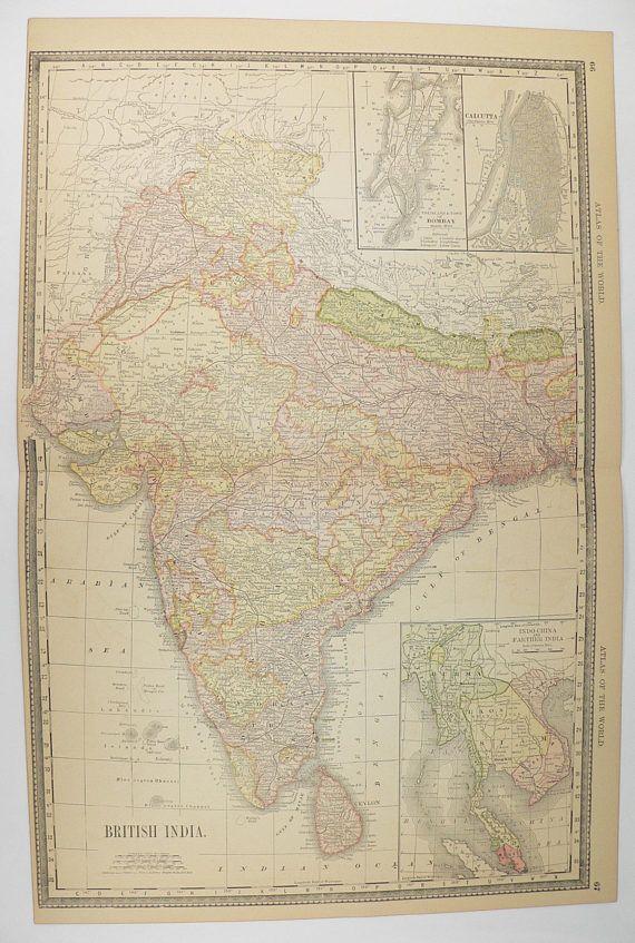 1887 Antique Map of India, British India Map, Sri Lanka Ceylon Map, Nepal Kashmir Map, India Wedding Gift for Couple, Siam Map Indo China available from www.OldMapsandPrints.Etsy.com #India #SriLanka #Nepal #VintageMapofIndia