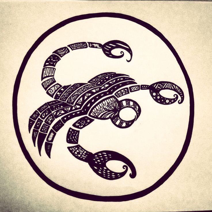 Zentangle Zodiac art - Scorpio,  (Made with a black posca pen)  #PLKdesign