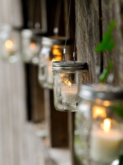 Outdoor hanging mason jar lights~❥