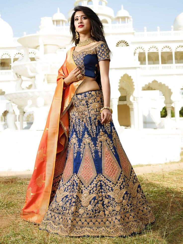 Blue and Dark Peach Color Shivangi Joshi Lehenga Choli