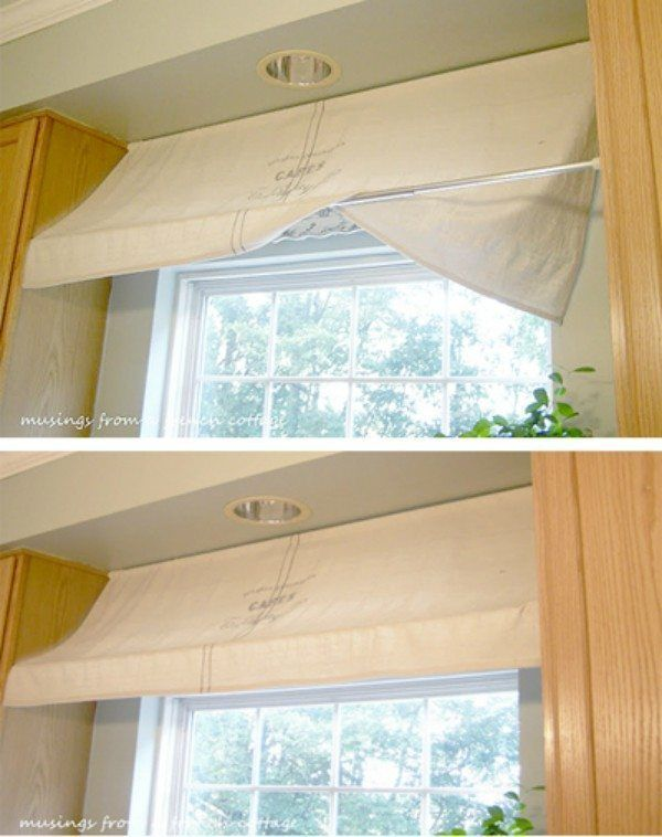 Bring the French country feel to your kitchen- use tension rods to create an awning for your window. Love this tip!