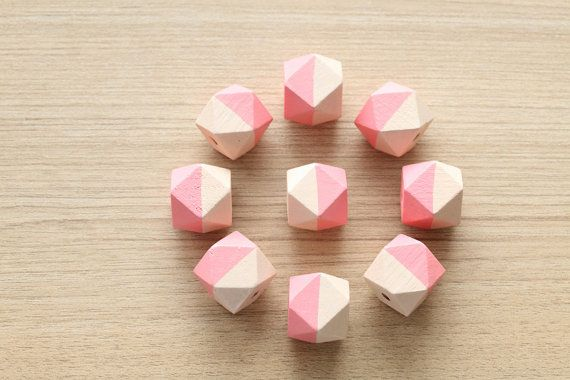 Geometric 2 tone Hand Painted Wood Beads - 9 pcs of  Peach and Pink faceted wooden beads - wood supplies - 20mm