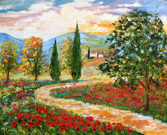 Landscape Painting Original Oil Tuscany Poppies By